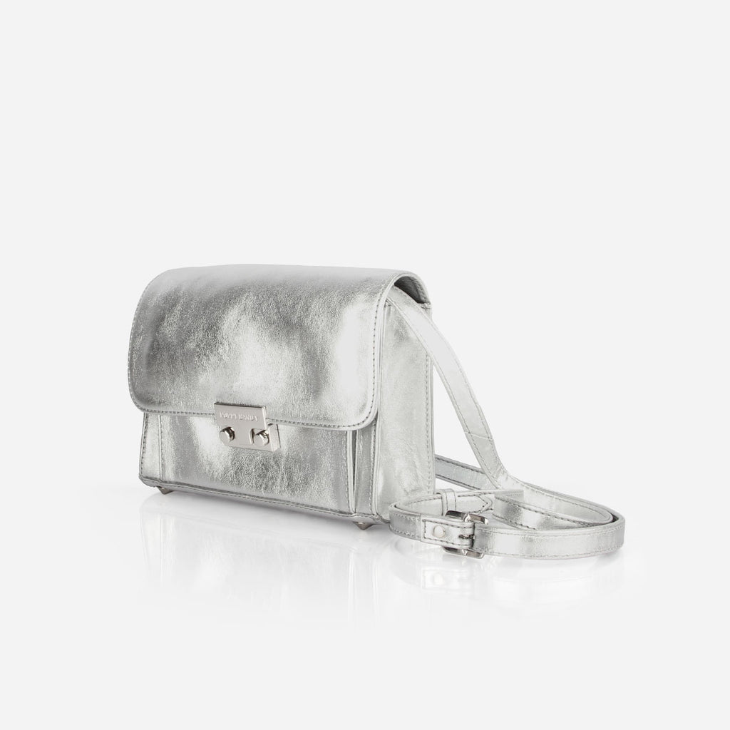 The Mini Shoulder Satchel - silver metallic leather womens small crossbody purse - Poppy Barley