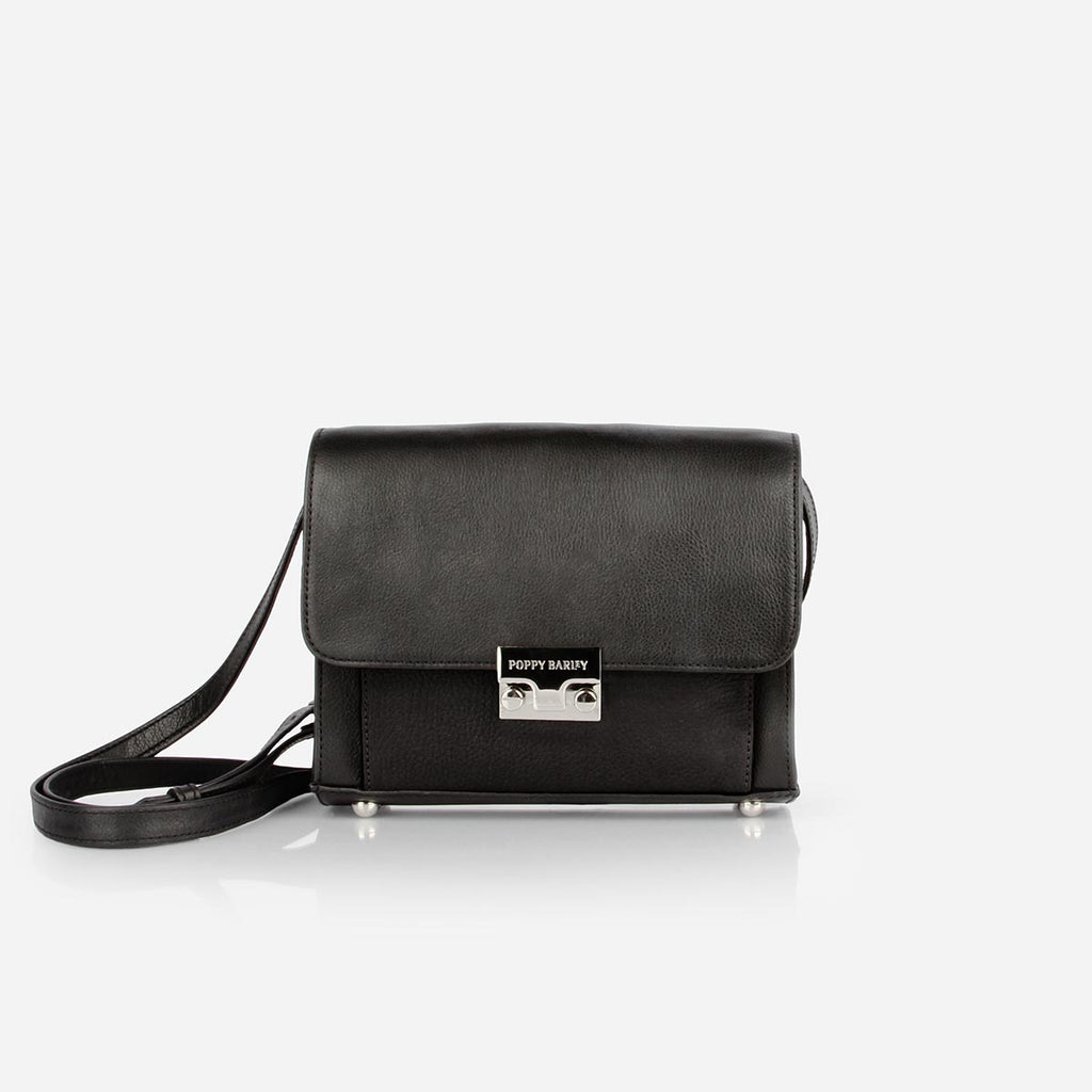 The Mini Shoulder Satchel - black leather womens small crossbody purse - Poppy Barley