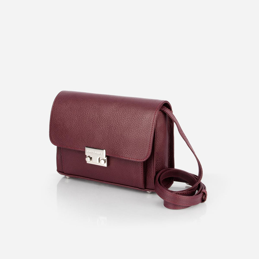 The Mini Shoulder Satchel - bordeaux pebbled leather womens small crossbody purse - Poppy Barley