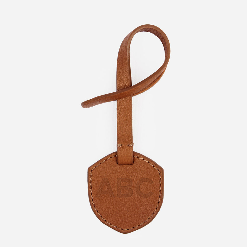 The Monogram Tag - brown leather personalized accessory tag - Poppy Barley