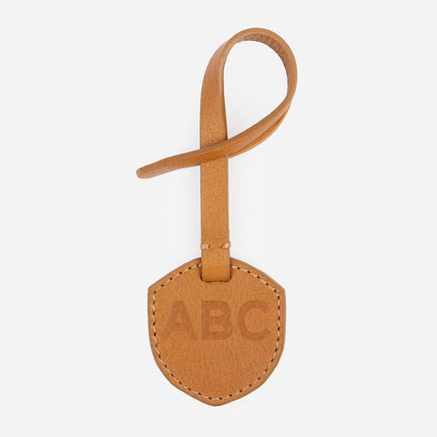Monogram Tag -  branded debossed brown leather accessories tag  - Poppy Barley