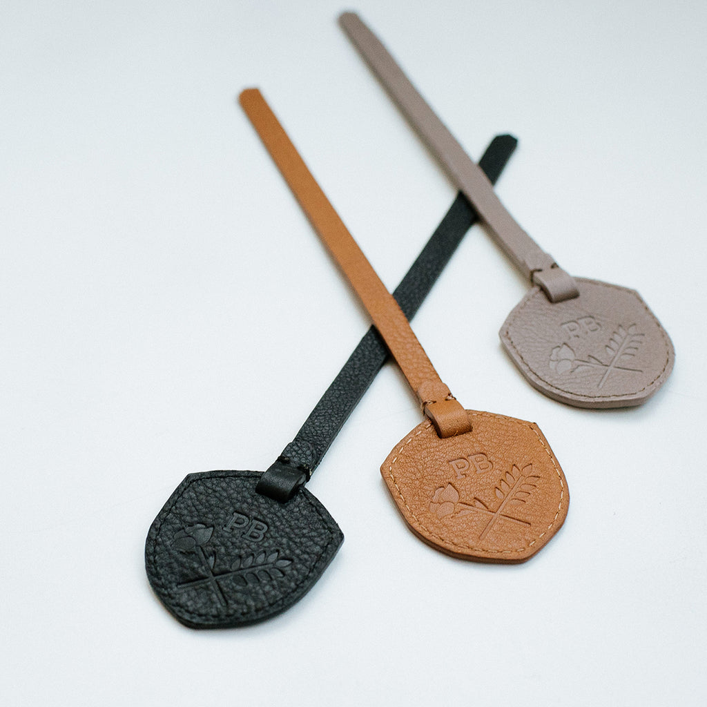Monogram Tag -  branded debossed black leather accessories tag  - Poppy Barley