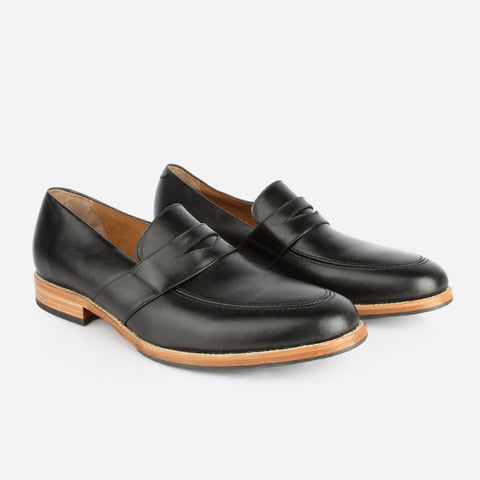 The Montreal Loafer - black leather mens slip on shoe - Poppy Barley