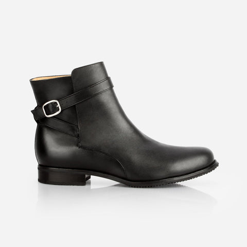 The Moto Boot - black water resistant leather buckled flat womens ankle boot - Poppy Barley
