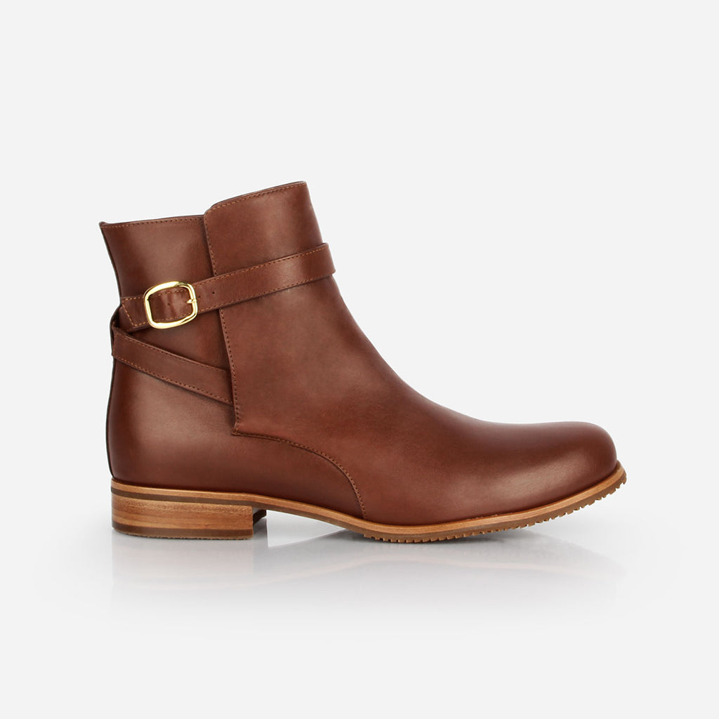 The Moto Boot - brown leather buckled flat womens ankle boot - Poppy Barley