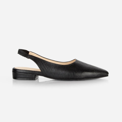 The On-The-Ball Slingback Black Lizard Ready To Wear