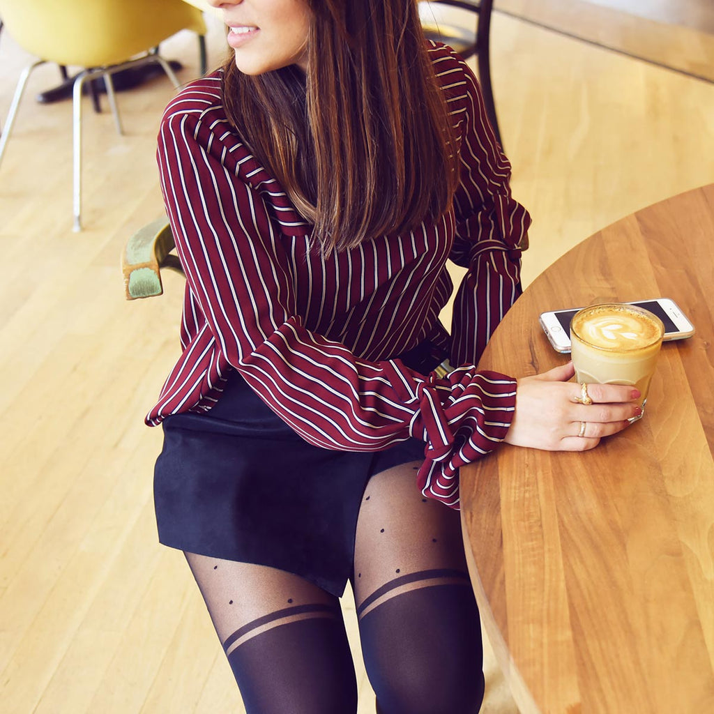 Rachel Over-The-Knee Striped Polka Dot Tights Black