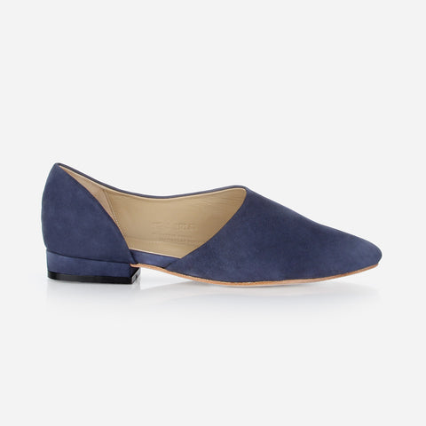The Peek-A-Boo Flat Navy Nubuck Ready To Wear