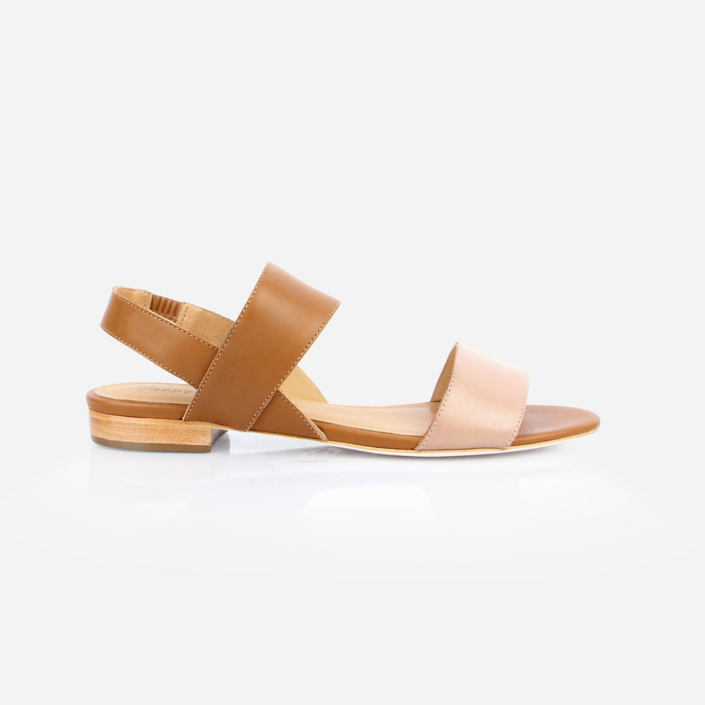 The Prairie Sandal - brown and nude leather  womens sandal - Poppy Barley