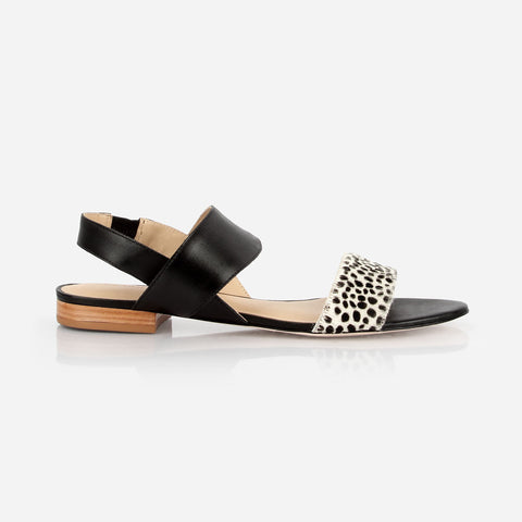 The Prairie Sandal - black leather and dot hair calf womens sandal - Poppy Barley