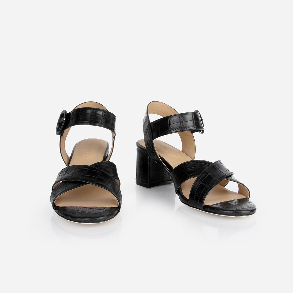 The RSVP Heeled Sandal Black Croc