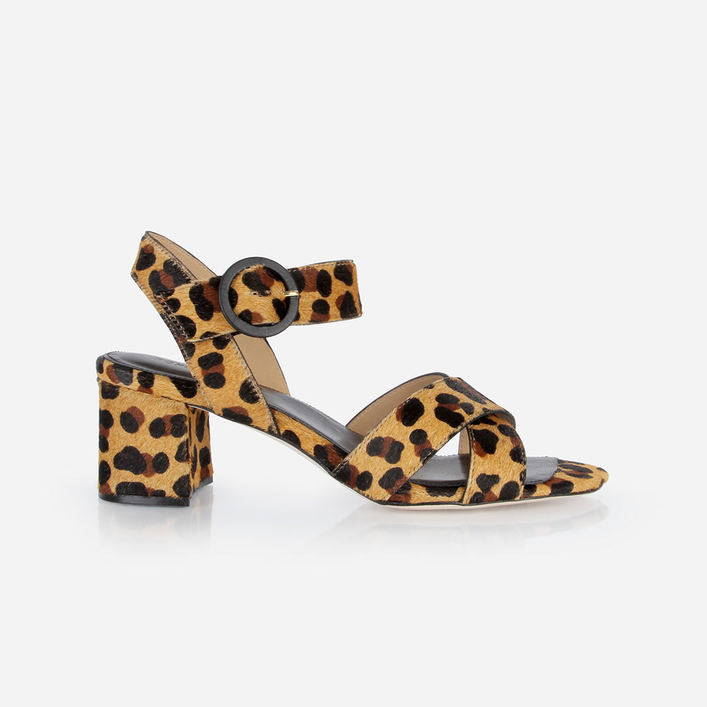 The RSVP Heeled Sandal Leopard Haircalf
