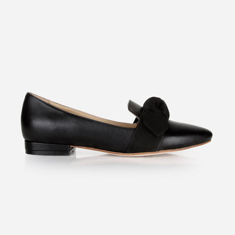 The Ready-or-Knot Flat - black leather womens bow-tie flat - Poppy Barley