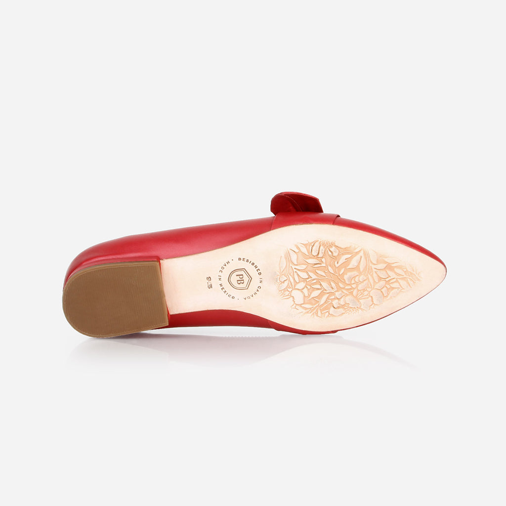 The Ready-or-Knot Flat - red leather womens bow-tie flat - Poppy Barley