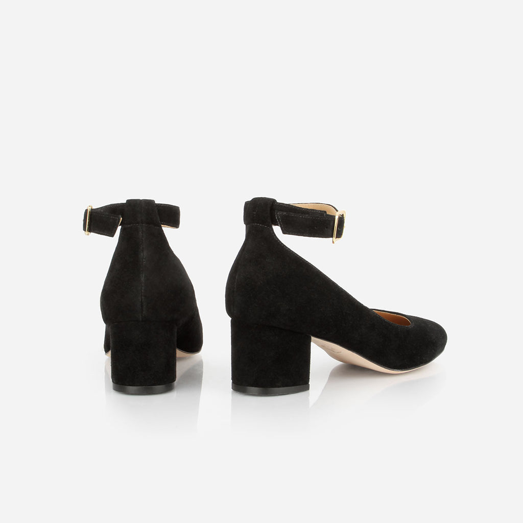 "The Rosemont Mary Jane - black suede women's rounded toe 2"" heel - Poppy Barley"