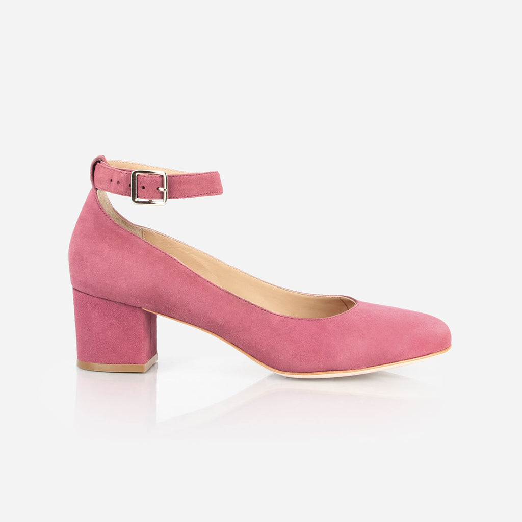 "The Rosemont Mary Jane - pink suede women's rounded toe 2"" heel - Poppy Barley"