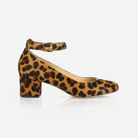 "The Rosemont Mary Jane - leopard print calf hair women's rounded toe 2"" heel - Poppy Barley"