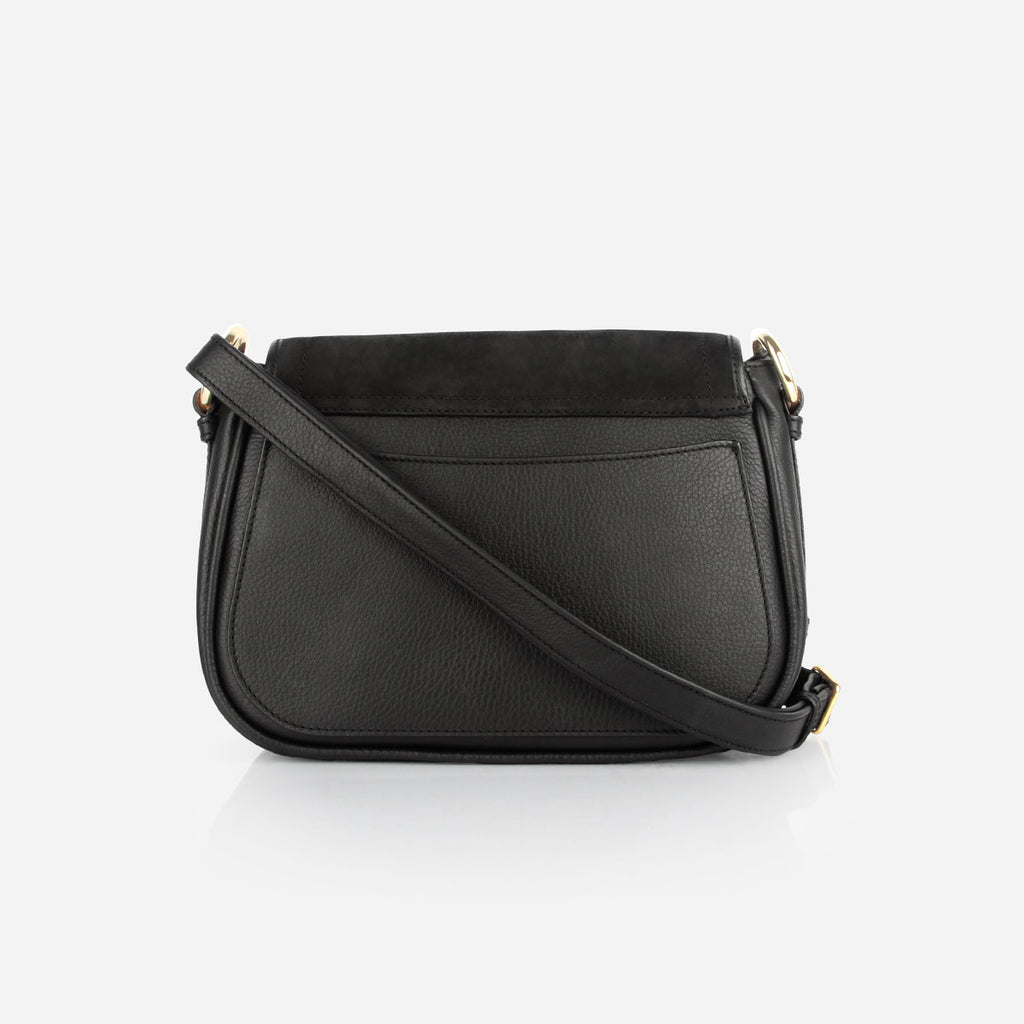 The Saddle Bag - black nubuck and leather tassel womens crossbody bag - Poppy Barley