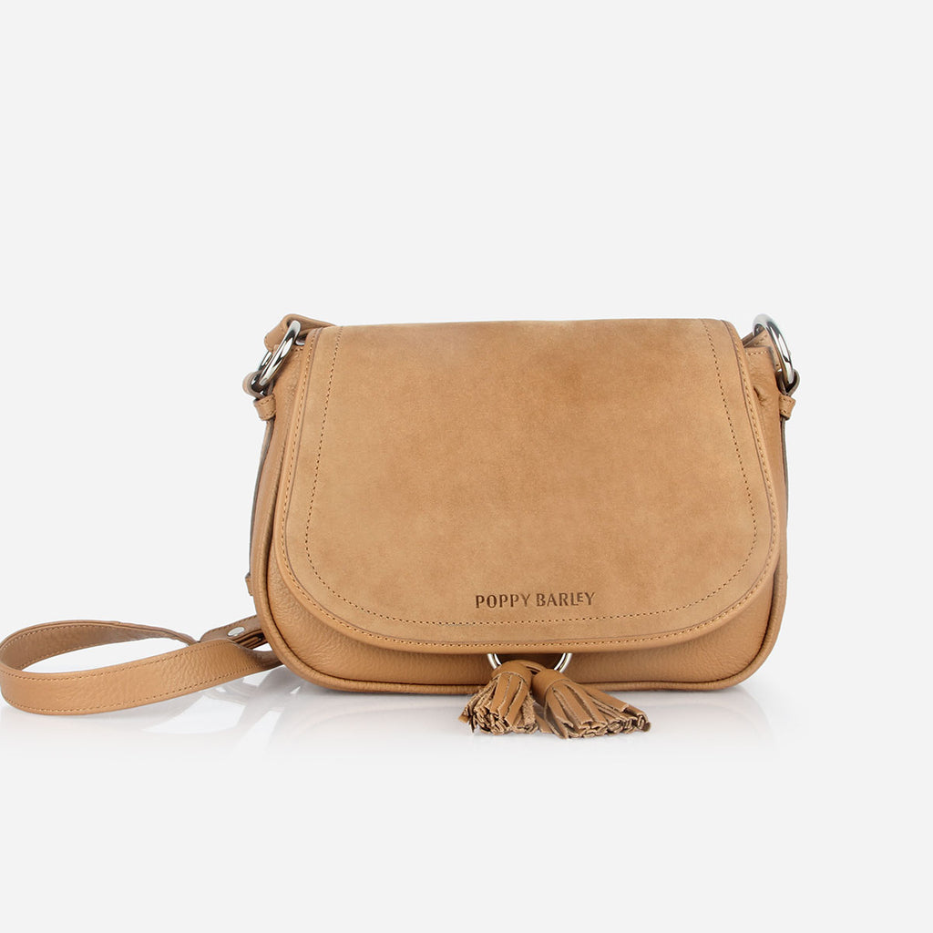 The Saddle Bag - tan nubuck and leather tassel womens crossbody bag - Poppy Barley