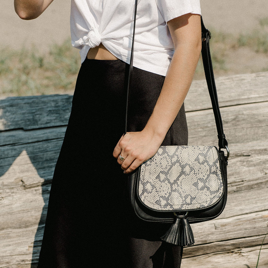 The Saddle Bag - black and snake print and leather tassel womens crossbody bag - Poppy Barley