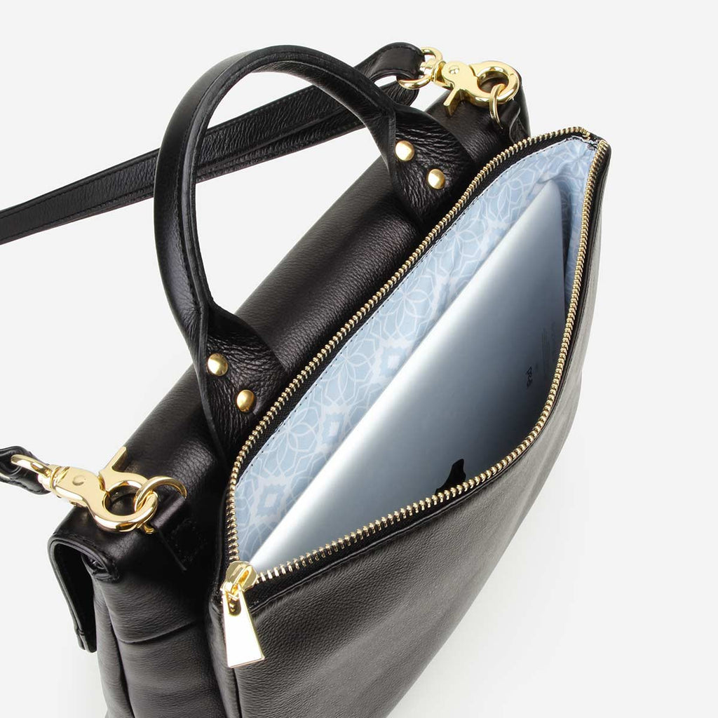 The Shoulder Satchel - black leather satchel handbag with crossbody strap - Poppy Barley