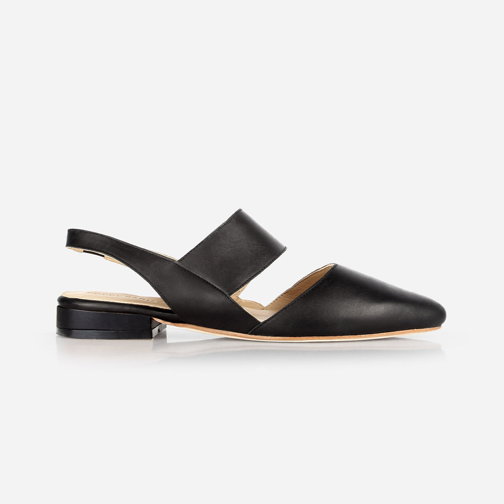 The Slingback Mary Jane - black leather womens strapped closed toe flat - Poppy Barley