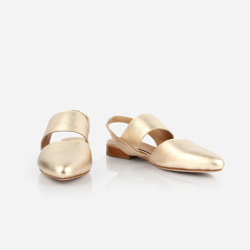The Slingback Mary Jane - gold metallic leather womens strapped closed toe flat - Poppy Barley
