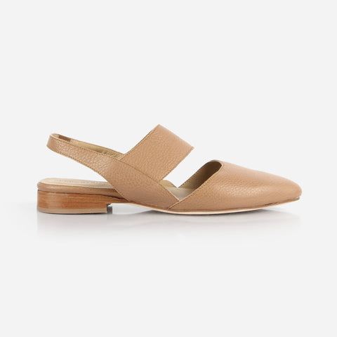 The Slingback Mary Jane - tan leather womens strapped closed toe flat - Poppy Barley