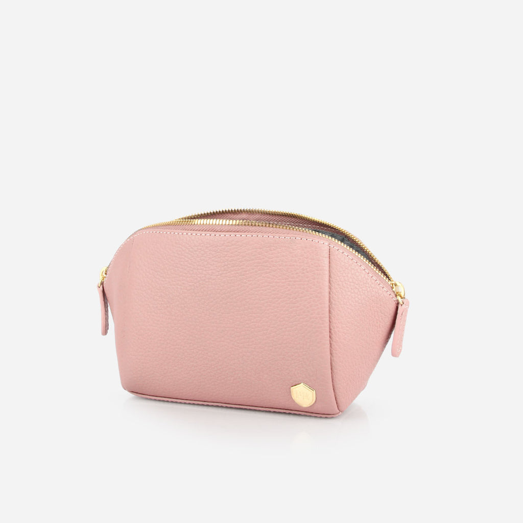 The Small Cosmetic Case Bag -  light pink pebble leather cosmetics toiletry bag - Poppy Barley
