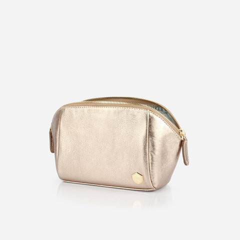 The Small Cosmetic Case Bag -  metallic gold leather cosmetics toiletry bag - Poppy Barley
