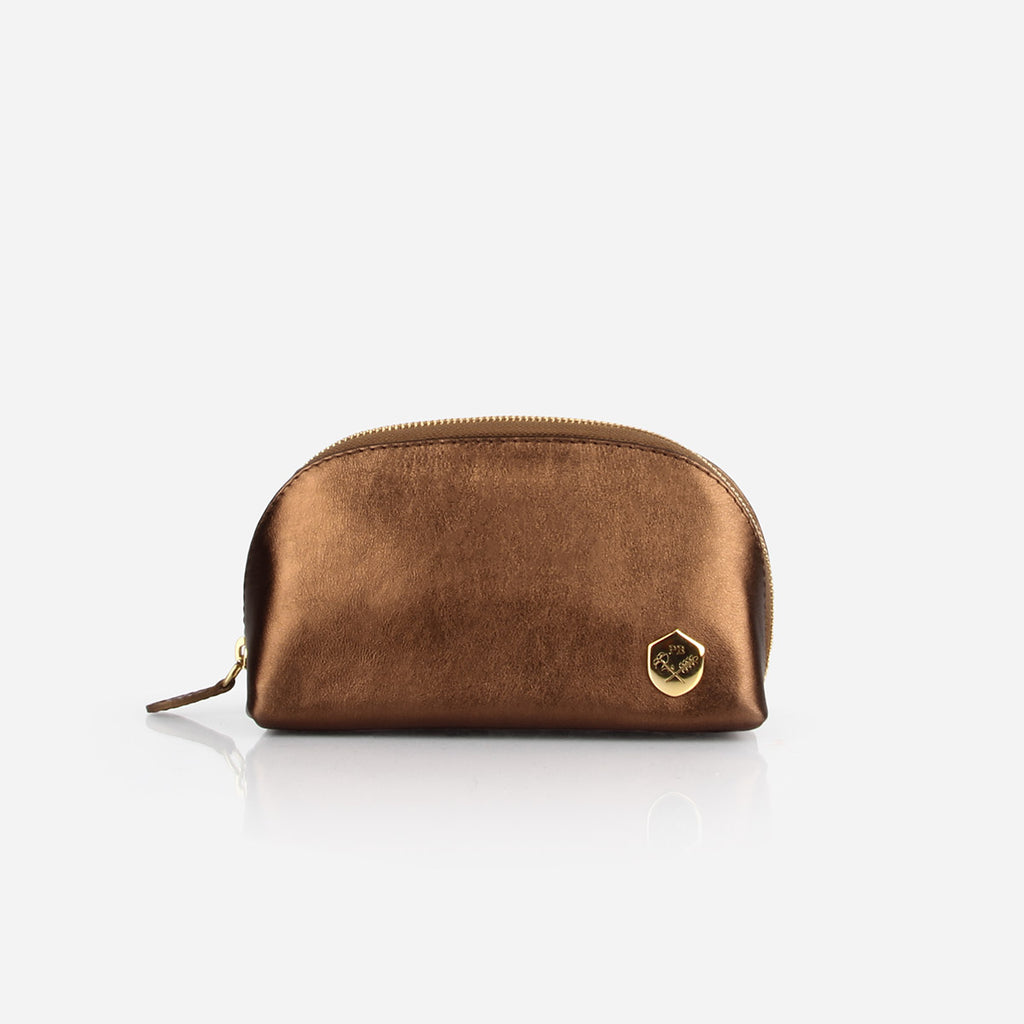 The Small Make-up Bag -  bronze metallic leather cosmetics toiletry bag - Poppy Barley