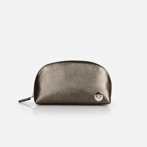 The Small Make-up Bag -  graphite metallic leather cosmetics toiletry bag - Poppy Barley