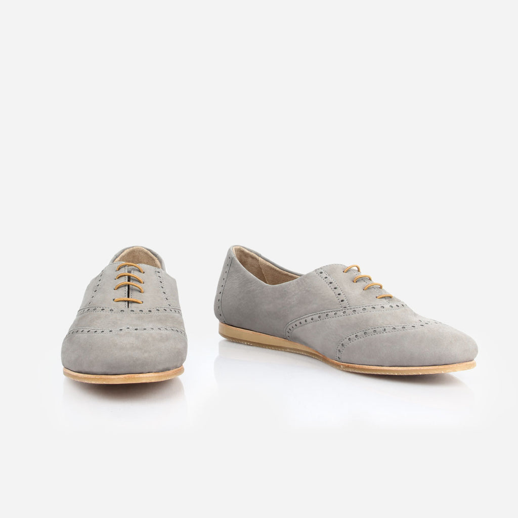 The Soft Oxford - grey nubuck womens oxford round toe - Poppy Barley