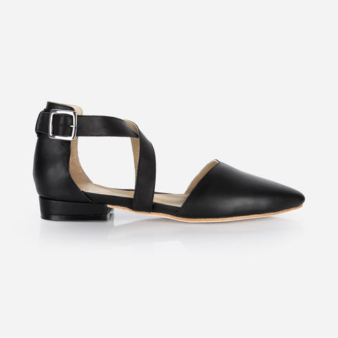 The Strappy Sandal -  black leather cross strap womens flat - Poppy Barley