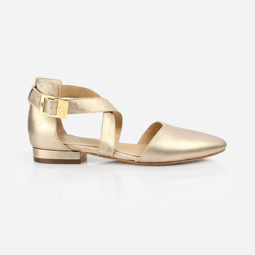 The Strappy Sandal - gold metallic leather strapped womens flat sandal - Poppy Barley