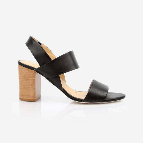 "The Summerland Heeled Sandal - black leather womens 3"" natural stacked heel sandal - Poppy Barley"