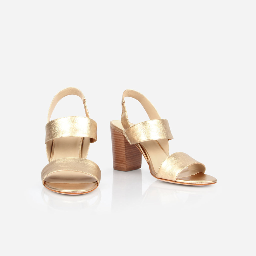 The Summerland Sandal - metallic gold leather 3 inch stacked heeled womens sandal - Poppy Barley