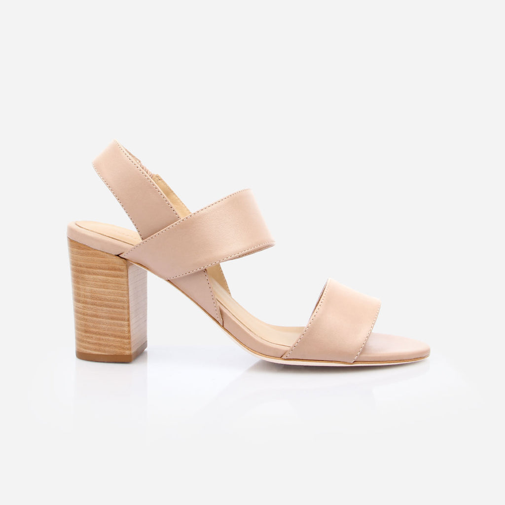 "The Summerland Heeled Sandal - nude leather womens 3"" natural stacked heel sandal - Poppy Barley"