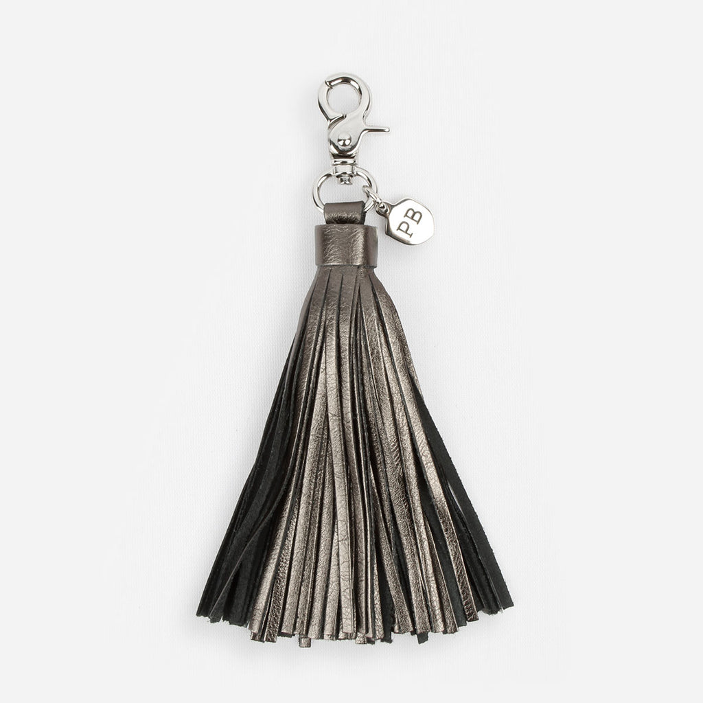 The Leather Tassel - graphite metallic oversized leather hook tassel - Poppy Barley