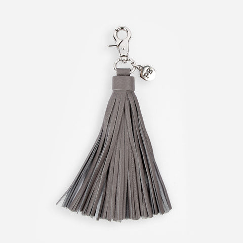 The Leather Tassel - grey oversized leather hook tassel - Poppy Barley