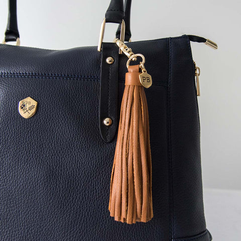 The Leather Tassel - caramel oversized leather hook tassel - Poppy Barley