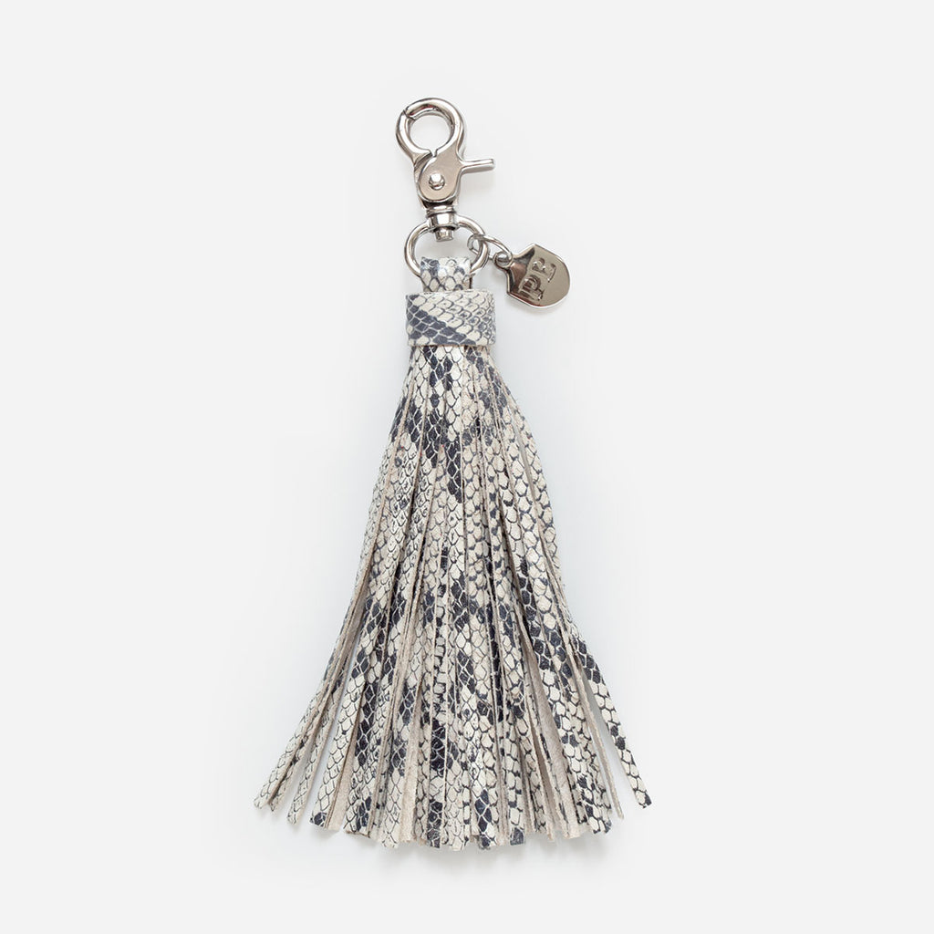 The Leather Tassel - Snake printed leather keychain with silver hardware - Poppy Barley