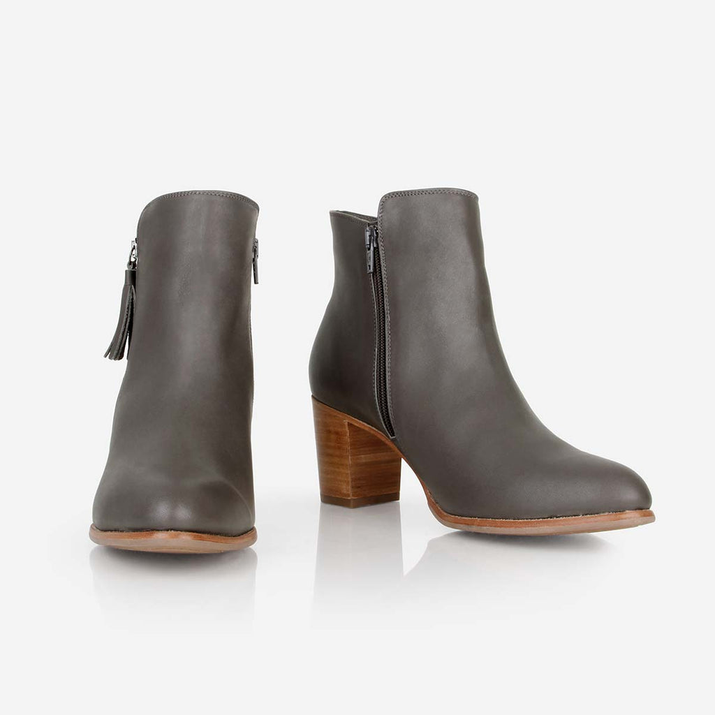 The Tassel Bootie -grey leather zippered womens ankle boot - Poppy Barley