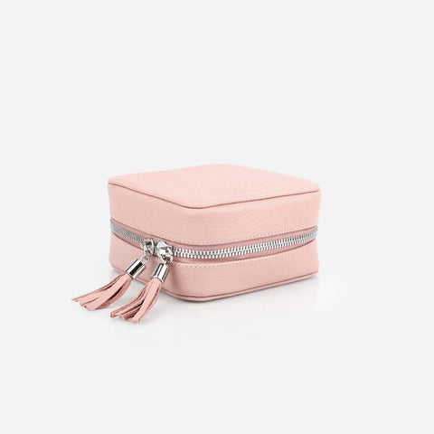 The Travel Jewelry Case - small light pink leather jewelry holder - Poppy Barley