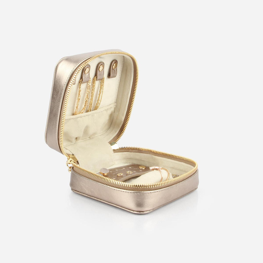 The Travel Jewelry Case - metallic gold leather small jewelry holder - Poppy Barley