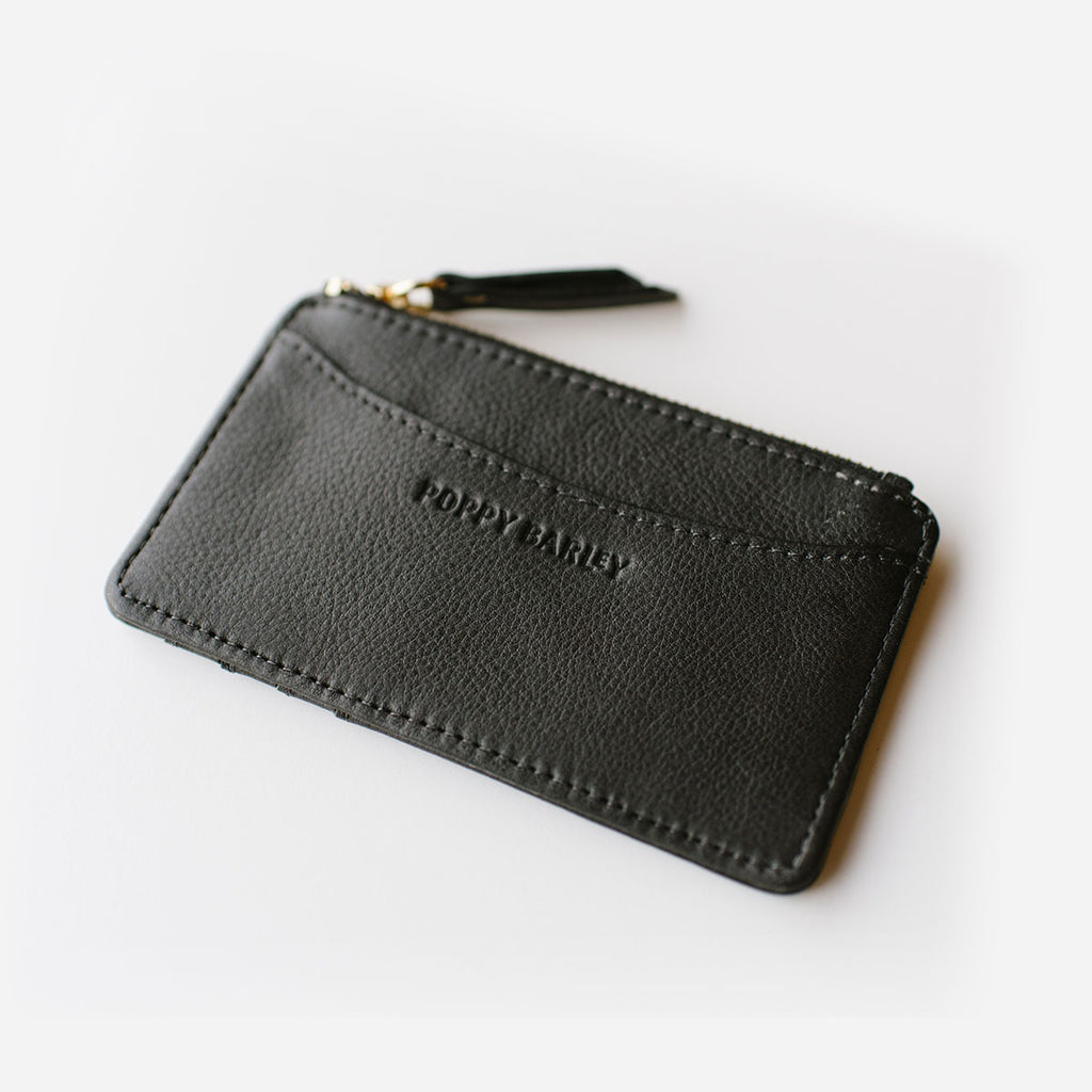 The Travel Zip Wallet - Black leather compact card holder - Poppy Barley