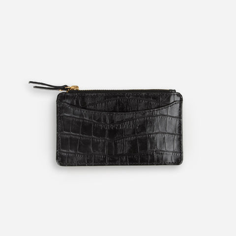 The Small Zip Wallet Black Croc