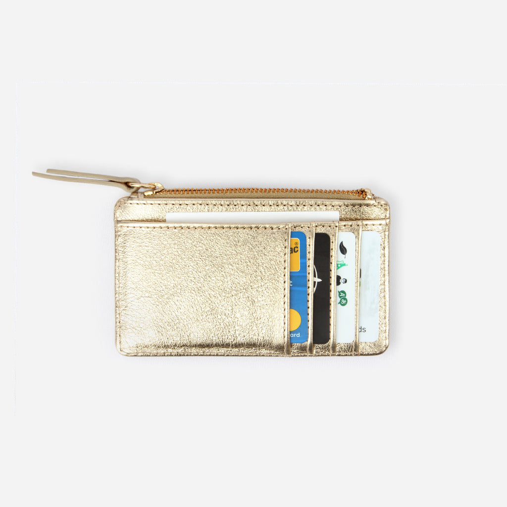 The Travel Zip Wallet - gold metallic leather compact card holder - Poppy Barley