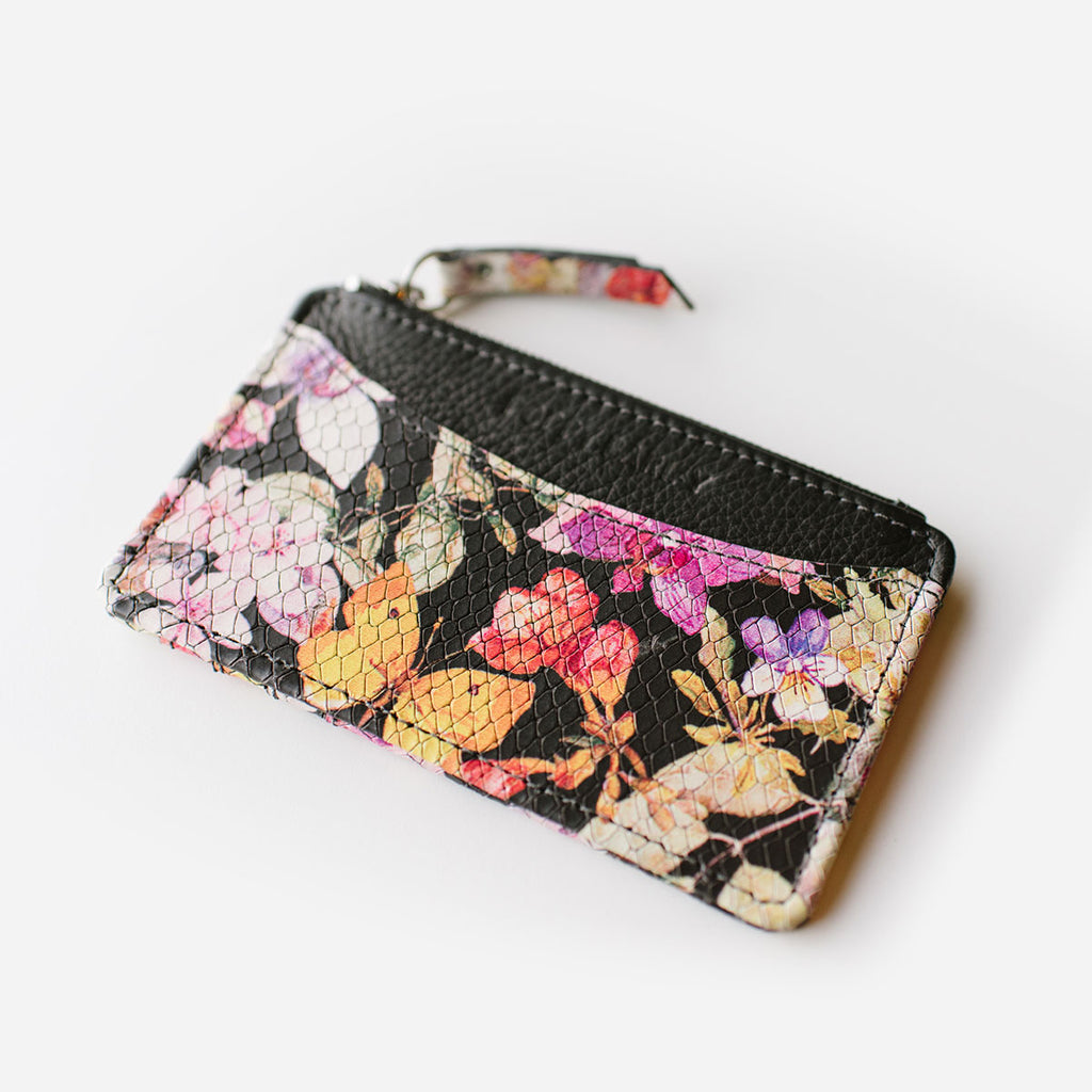 The Travel Zip Wallet - floral print leather compact card holder - Poppy Barley