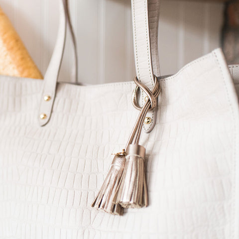 The Twin Tassel - Gold Leather Tassel - Poppy Barley